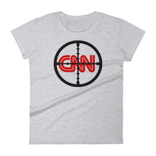 CNN With Cross Hairs Fake News - Women's short sleeve t-shirt