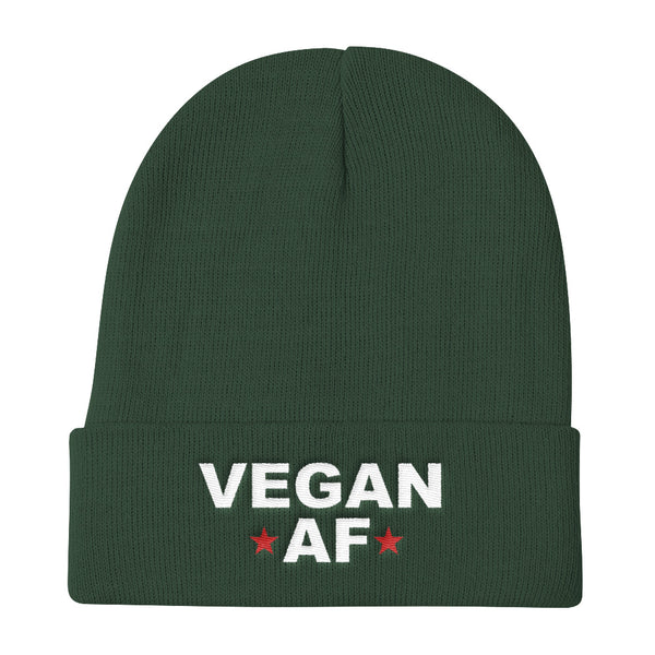 VEGAN AF Knit Stocking Cap Embroidered Beanie