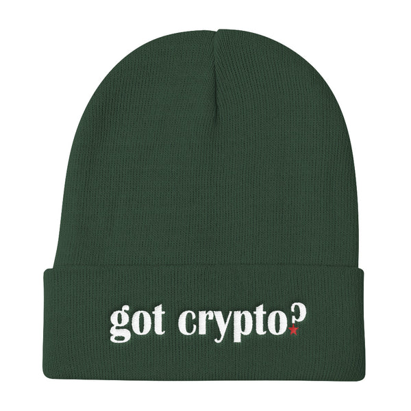 Got Crypto? Embroidered Cryptocurrency Altcoin Knit Beanie