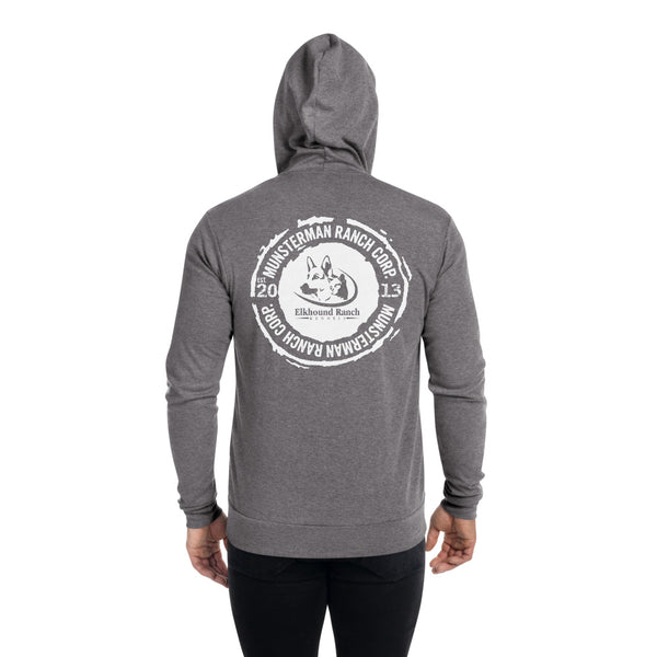 Elkhound Ranch Kennels Unisex Lightweight Zip Hoodie | Bella + Canvas 3939 BACK PRINT ONLY
