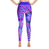 Futuristic Purple Paisley All Over Print Yoga Pants/ Leggings
