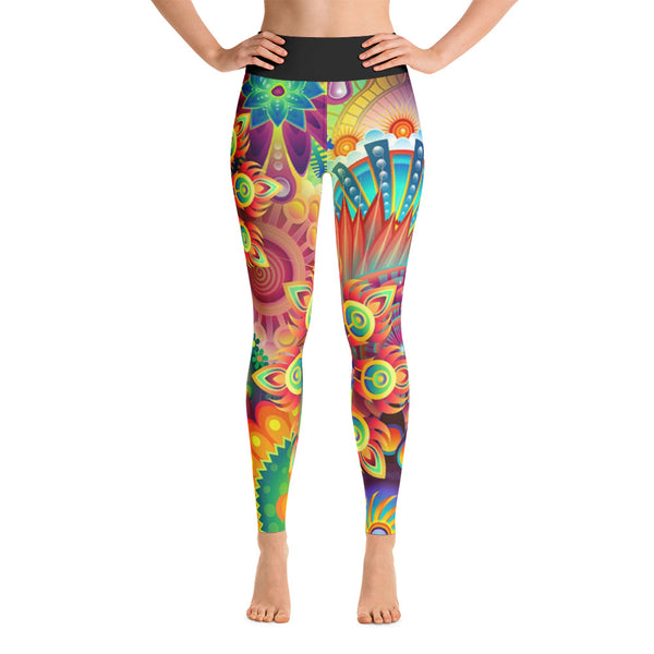 Colorful Abstract Floral All Over Print Yoga Pants / Leggings