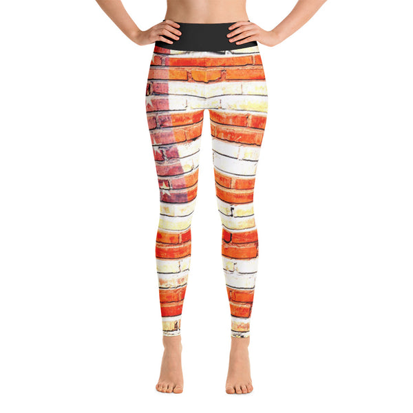 American Flag On Bricks All Over Print Yoga Pants - Leggings