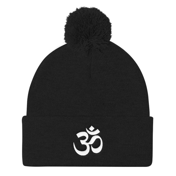 OM Yoga Symbol Stocking Pom Pom Knit Cap