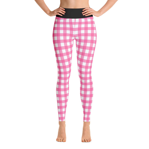 Pink & White Check All Over Print Yoga Pants /  Leggings