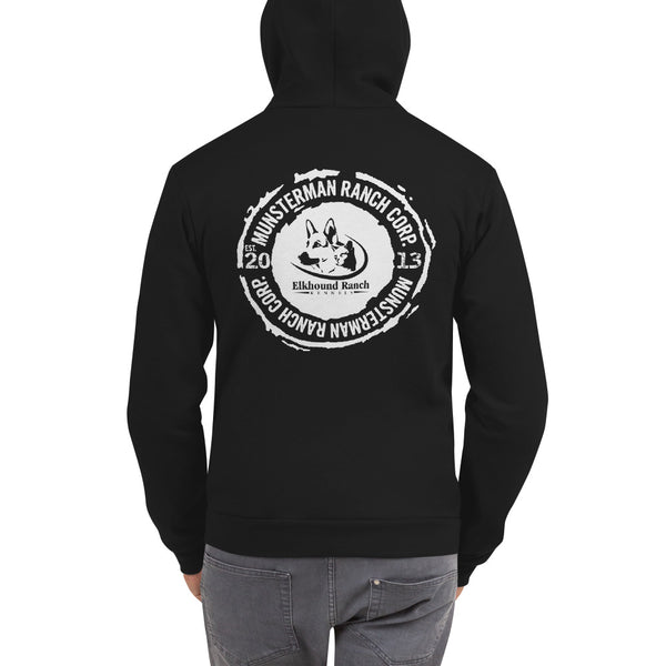 Elkhound Ranch Kennels Unisex Zip Up Hoodie | American Apparel F497W BACK PRINT ONLY