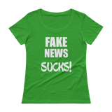 Fake News SUCKS! Ladies' Scoopneck T-Shirt