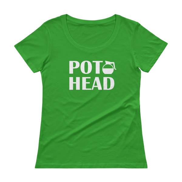 Pot Head - Funny Coffee Pot Ladies' Scoopneck T-Shirt