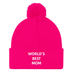 World's Best MOM - Embroidered Pom Pom Knit Cap