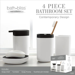 Bath Bliss 2 Tone Contemporary 4 Piece Bathroom Ensemble in Black & White (Case Pack of 12)
