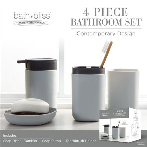Bath Bliss 2 Tone Contemporary 4 Piece Bathroom Ensemble in Grey (Case Pack of 12)