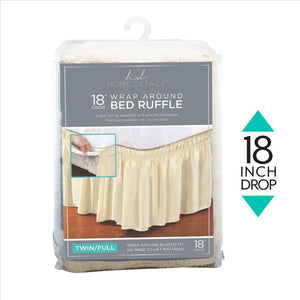 "Home Details 18"" Drop Wrap Around Bed Ruffle Twin/Full in Beige (Case Pack of 24)"