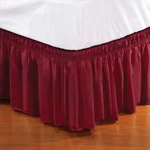 "Home Details 18"" Drop Wrap Around Bed Ruffle Twin/Full in Burgundy (Case Pack of 24)"