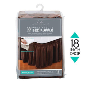 "Home Details 18"" Drop Wrap Around Bed Ruffle Twin/Full in Chocolate (Case Pack of 24)"