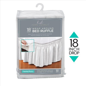 "Home Details 18"" Drop Wrap Around Bed Ruffle Twin/Full in White (Case Pack of 24)"