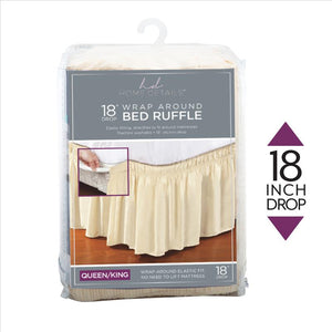 "Home Details 18"" Drop Wrap Around Bed Ruffle Queen/King in Beige (Case Pack of 24)"