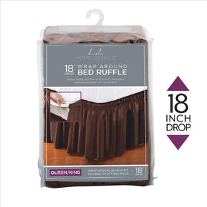 "Home Details 18"" Drop Wrap Around Bed Ruffle Queen/King in Chocolate (Case Pack of 24)"