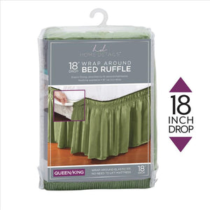 "Home Details 18"" Drop Wrap Around Bed Ruffle Queen/King in Sage (Case Pack of 24)"