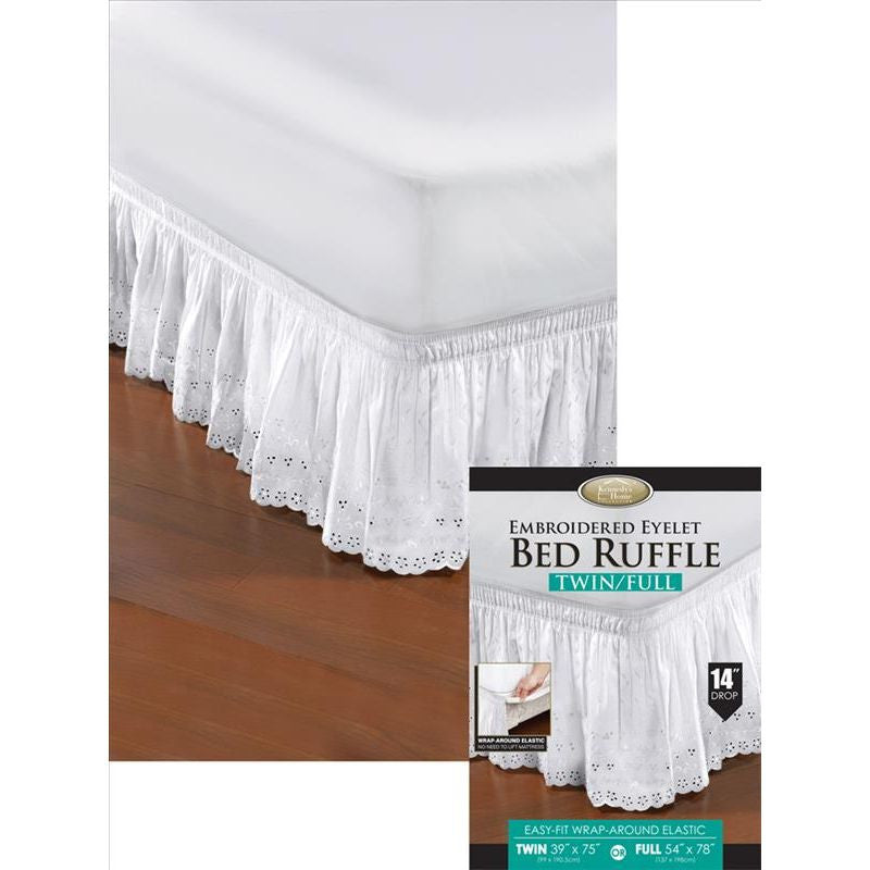 EYELET BED RUFFLE T/F WHT/BEI