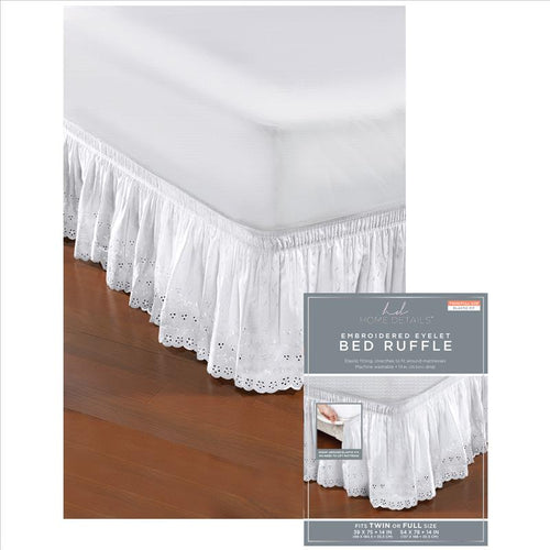 Home Details Embroidered Eyelet Wrap Around Bed Ruffle (Case Pack of 24)