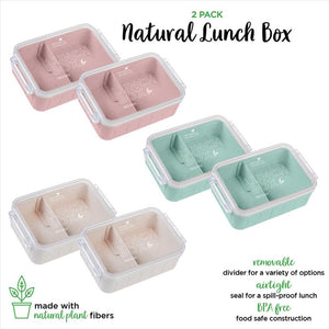 2Pk Eco Wheat Lunch Box w. Clear lid 800ml. (Case Pack of 36)