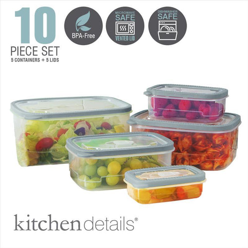 10pc Sets Rectangle Food Storage Container with Lids & open vent (Case Pack of 12)