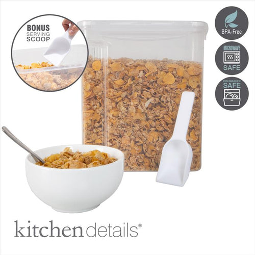 Kitchen Details Large Size Airtight Cereal Container with Scooper (Case Pack of 12)