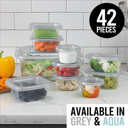 42pc Square Food Storage Containers (Case Pack of 8)