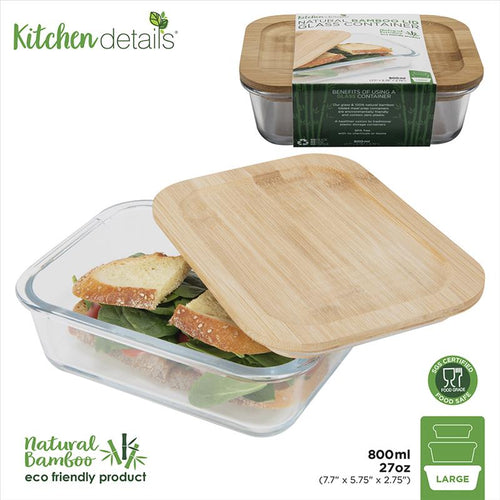 Glass Meal Prep Container w Bamboo Lid - 800mL (Case Pack of 12)