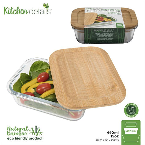 Glass Meal Prep Container w Bamboo Lid - 440mL (Case Pack of 12)