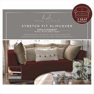 "STRETCH LOVE SEAT SLIP COVER- BURGUNDY- 96.5X47.2""- PIXEL"