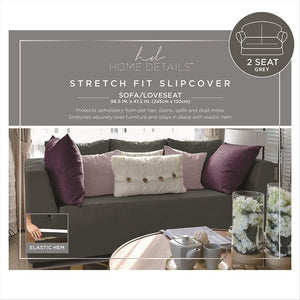 "STRETCH LOVE SEAT SLIP COVER- GREY- 96.5X47.2""- PIXEL"