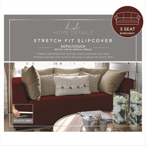 "STRETCH SOFA SLIP COVER- BURGUNDY- 96.5x63""- PIXEL"