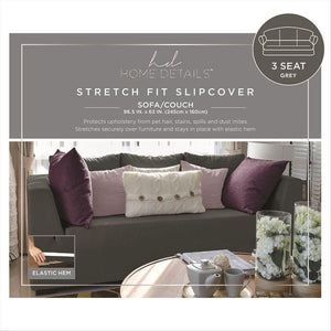 "STRETCH SOFA SLIP COVER- GREY- 96.5x63""- PIXEL"