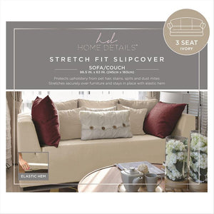 "STRETCH SOFA SLIP COVER- IVORY- 96.5x63""- PIXEL"