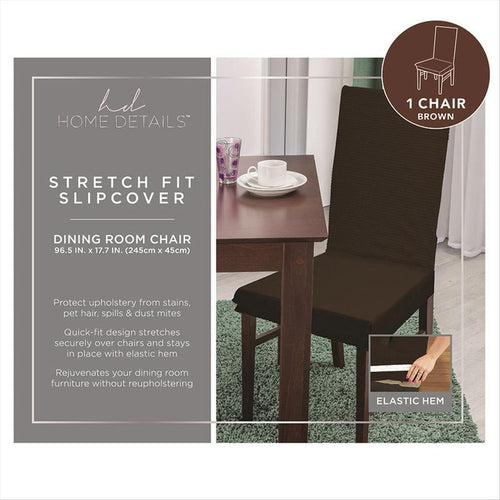 STRETCH DINING CHAIR SLIP COVER- BROWN- 96.5x17.7