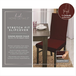 "STRETCH DINING CHAIR SLIP COVER- BURGUNDY- 96.5x17.7""- PIXE"