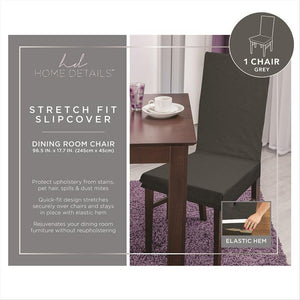 "STRETCH DINING CHAIR SLIP COVER- GREY- 96.5x17.7""- PIXE"