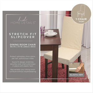 "STRETCH DINING CHAIR SLIP COVER- IVORY- 96.5x17.7""- PIXE"