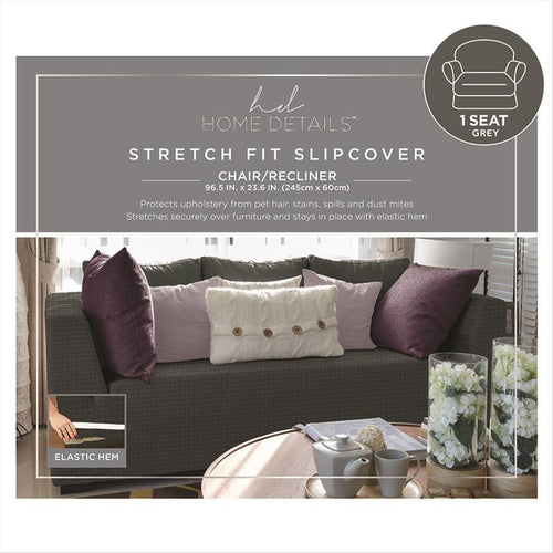 STRETCH CHAIR SLIP COVER- GREY- 96.5X23.6