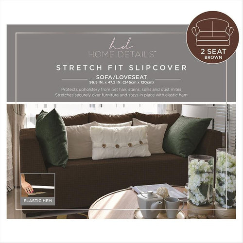 STRETCH LOVE SEAT SLIP COVER- BROWN- 96.5X47.2