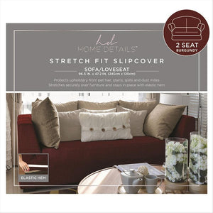 "STRETCH LOVE SEAT SLIP COVER- BURGUNDY- 96.5X47.2""- ZIG ZAG"