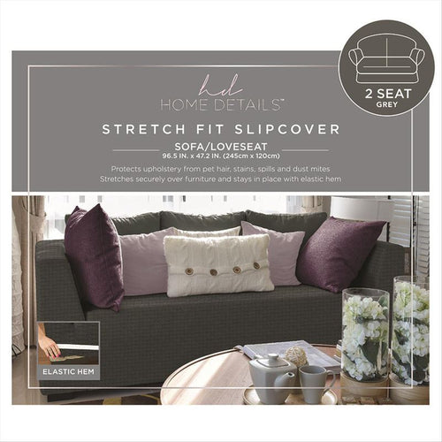 STRETCH LOVE SEAT SLIP COVER- GREY- 96.5X47.2
