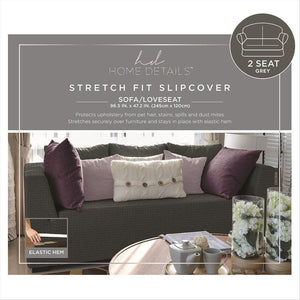 "STRETCH LOVE SEAT SLIP COVER- GREY- 96.5X47.2""- ZIG ZAG"