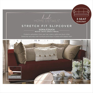 "STRETCH SOFA SLIP COVER- BURGUNDY- 96.5x63""- ZIG ZAG"