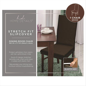 "STRETCH DINING CHAIR SLIP COVER- BROWN- 96.5x17.7""- ZIG ZAG"