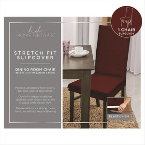 "STRETCH DINING CHAIR SLIP COVER- BURGUNDY- 96.5x17.7""- ZIG ZAG"