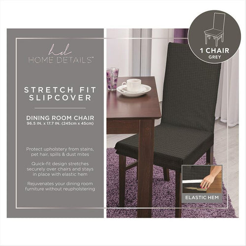 STRETCH DINING CHAIR SLIP COVER- GREY- 96.5x17.7