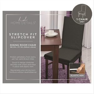 "STRETCH DINING CHAIR SLIP COVER- GREY- 96.5x17.7""- ZIG ZAG"