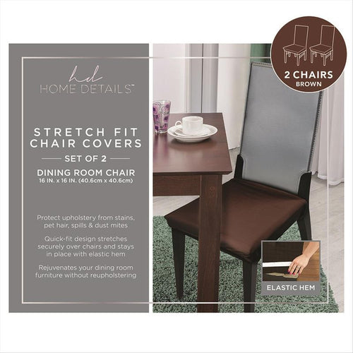 2Pk. Stretch N Fit Chair Fabric Renewal Cover - Brown